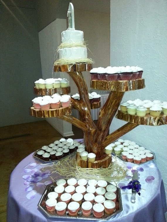 wedding cake and cupcakes stand items similar to cake cupcake stand weddings events 21734