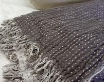 Duplex linen blanket, throw blanket, plaid, bedspread, bed cover