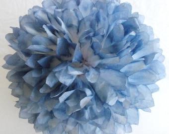 Blue Denim & White Pom / Wedding Decorations  / Birthday / Party Decorations / Baby Shower Decor  / Nursery Decorations, Hand Dyed Poms