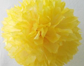 Lemon Yellow & Cream Pom / Wedding Decoration  / Birthday / Party Decoration / Baby Shower Decoration / Nursery Decoration, Hand Dyed Poms