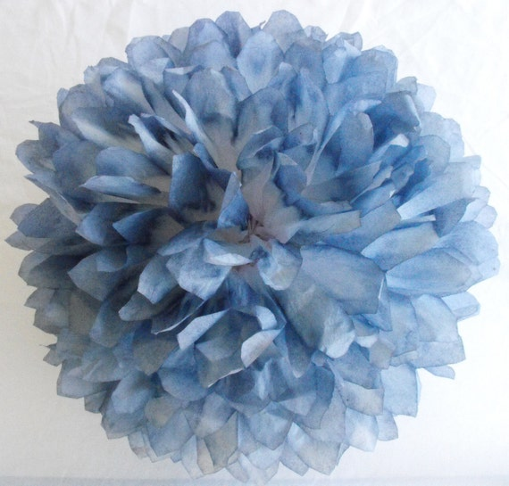 Blue Denim amp White Pom Wedding Decorations By HandDyedPoms