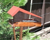 Mid Century Modern Ranch House Bird Feeder By