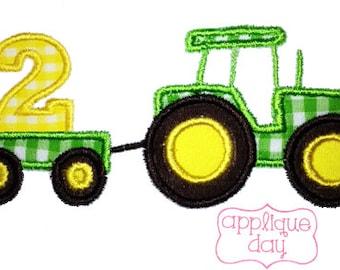 farm Tractor Instant Download Second Birthday Digital Applique Design