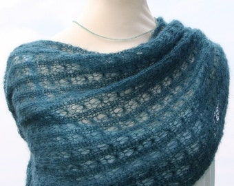 Knitted shawl / knitted wrap / mohair shawl / scarf / kid-mohair / silk / teal / lace / summerly