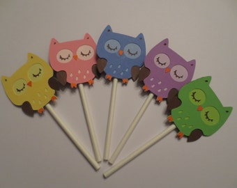 12 Owl Cupcake Toppers