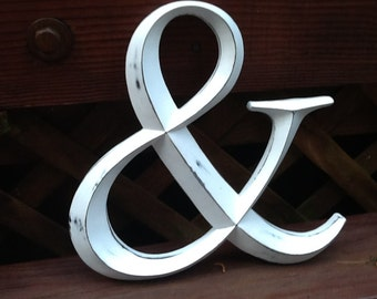 Rustic Ampersand Sign Distressed Large White Ampersand Symbol Wedding Photo Prop