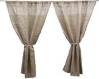 "Two Panels Of Burlap Curtain 60"" W x 96"" H"