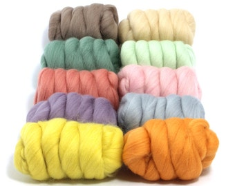 Pretty Pastels - 10 Colours - Dyed Merino Wool Tops - 250g / 9oz - Wet / Needle Felting - Roving - Spinning