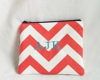Bridesmaid Bag - Coral Cosmetic Bag - Embroidered Makeup bag - Personalized Chevron Pouch - Bridesmaid clutches - Small