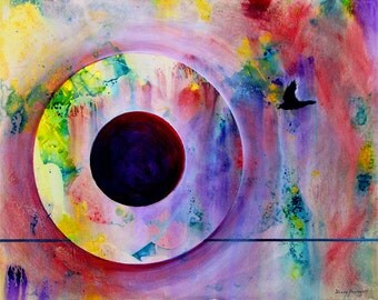 """Contemporary mystical acrylic painting.  GW Orb 7.       16"""" x 20"""".  Free U.S. shipping."""
