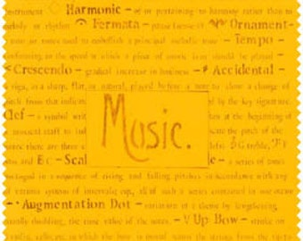 Quilt Fabric, Music Fabric, Fabric With Words, Text Fabric, Word Fabric, 107-04-3 sun 1/2 yard