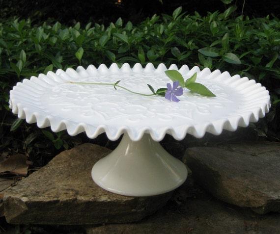 Cake Stand White Milk Glass Ruffled Edges
