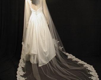 "Mantilla veil Cathedral length 108"" long - trailing manitlla veil with Alencon lace."