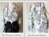 Vintage 1980's Damask Blouse/80's Black & White Floral Blouse/80's Paisley Blouse/Size Med Large