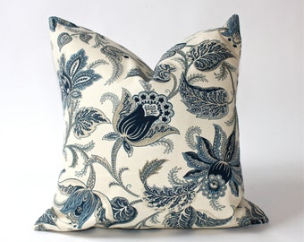 18 x 18 inch - Decorative Pillow Cover - Blue/Tan/Natural- Same Fabric on Back - Throw Pillow Cover