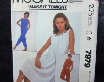 McCalls 7979 Make It Tonight Misses Dress and Jumpsuit UNCUT 1982 Size LARGE