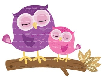 cute owl on branch clipart digital clipart - cute owl Digital Clip Art - cute owl clip art - owl graphics - Personal and Commercial Use