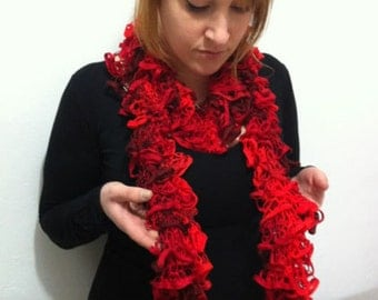 Ruffle Scarf Red bordo Hand knitted - IN SALE