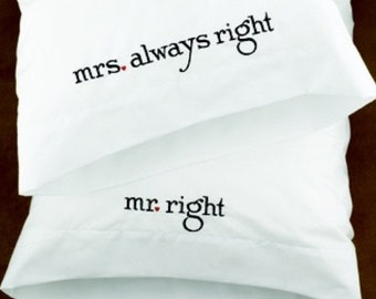 Embroidered Pillow Case set Wedding Gift
