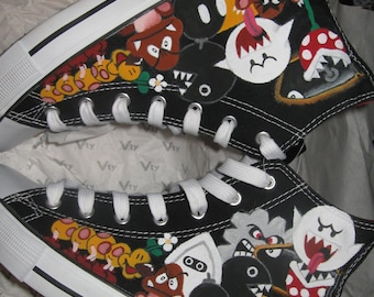 Hand Painted Nintendo SUPER MARIO Sneakers - One more Time :)