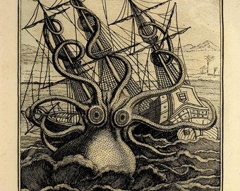 Antique octopus art print vintage nautical print Ocean print sea art print Victorian wall art Antique art prints Nature art Home decor art