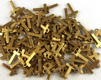 12x Vintage Brass Initial Charms - M030-T