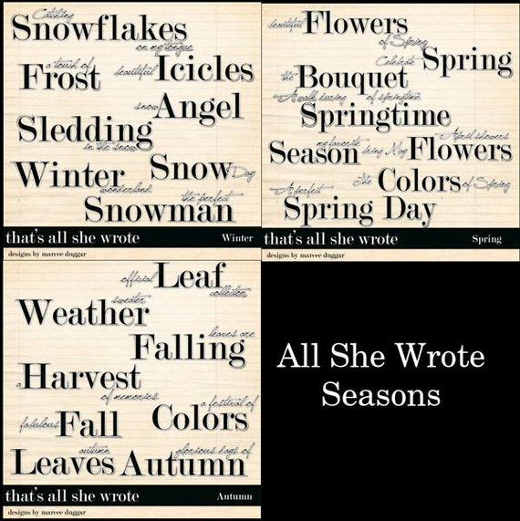 All She Wrote Seasons Word Art