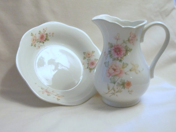 Bone China Floral Jug with Matching Soap Dish by Matchmaker