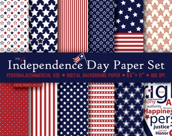 8.5 x 11 Independence Day Patriotic Digital Paper, 8.5 x 11 print, 4th of july, independence day, memorial day, red blue white, printable