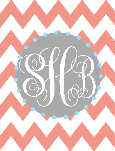 monogram binder cover insert or frame insert chevron