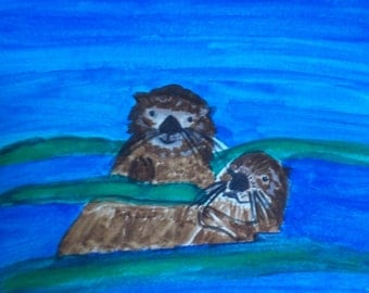 Sea Otter pals blank card