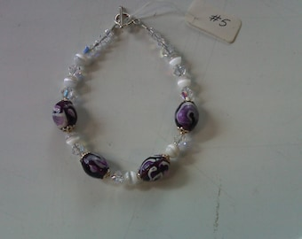 Sterling Silver .925 Bracelet cats eye glass and crystal