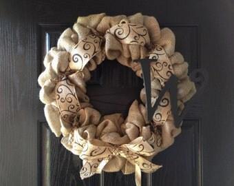 WINTER SPECIAL!!Burlap Wreath with Initial and Scroll Burlap Ribbon- Monogram Wreath- Front Door Wreath