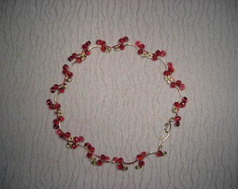 Red Crystal with Red and Gold Wire Choker