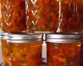 Festive Gourmet Sweet Bell Pepper Jelly with Green, Red, Yellow, Orange  1/2 Pint