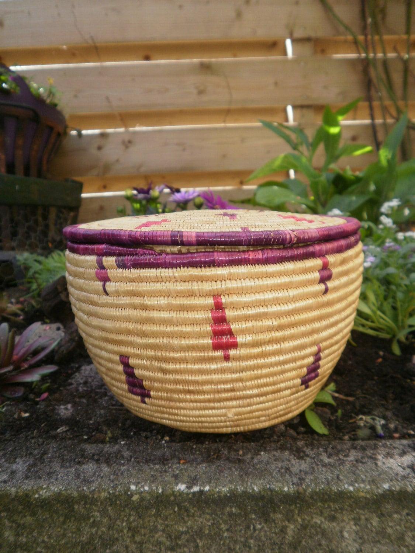 Handmade Small Baskets : Lidded small african basket handmade by macchiatojewelry