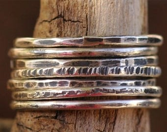 Sale Skinny Stack Rings in Sterling Silver was  58.78