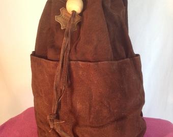 Free ship,Backpack bag, Large, Hobo Barrel ,Backpack ,Shoulder sling, brown, suede, leather ,boho bag