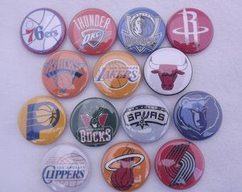 """All 30 NBA Team Basketball 1""""  Buttons"""