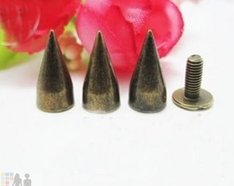 13mm 100pcs Metal Cone Bullet Studs and Spikes For Leather Craft Bronze FREE SHIPPING Worldwide