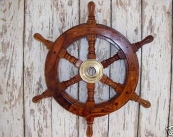 12 Wood Brass Ship Wheel