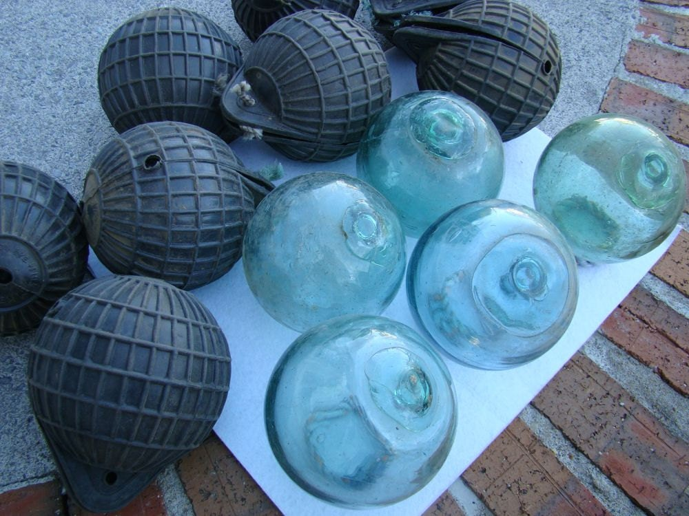 4 japanese glass fishing floats old vintage japan buoy for Japanese glass fishing floats