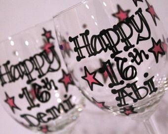 Personalised Birthday Wine Glass Sweet 16 16th Birthday