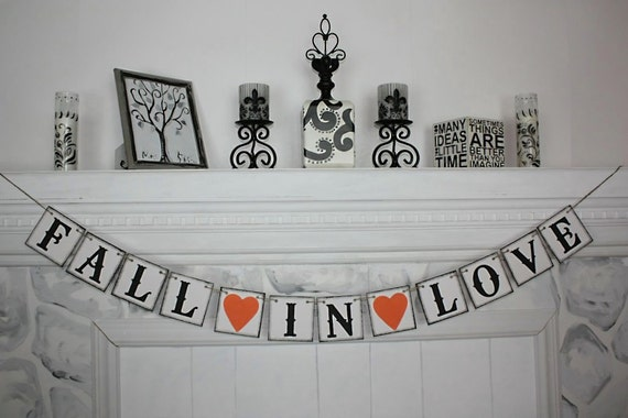 FALL IN LOVE Banner - Wedding Banner -Engaged Banner-Wedding sign-Photo Prop