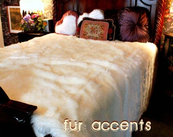 Plush Faux Fur Bedspread - Comforter - Throw Blanket - White Shag - Backed with Softest Minky Cuddle Fur - Fur Accents Original Designs USA