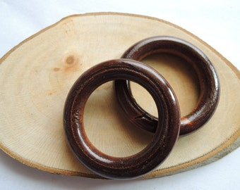 15 Pcs  40mm Wood   Ring Dark Brown  Wooden circle ( W025)