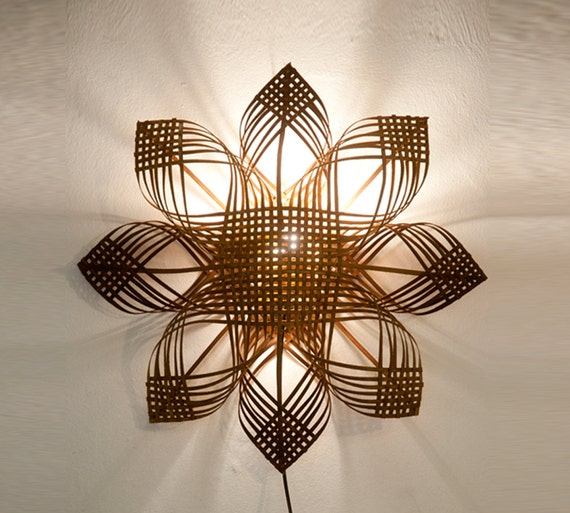 Woven Lampshade Shining Star Wall Decor Lighting Warm