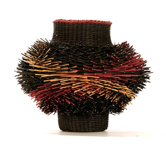 "Red & Yellow thorn basket, Nest technique woven basket - ""Mutual truth"""