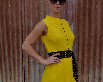 Retro Yellow Mini Dress with Matching Belt