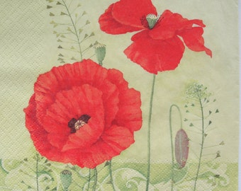 Paper napkin for decoupage, Floral napkin, Large Poppies